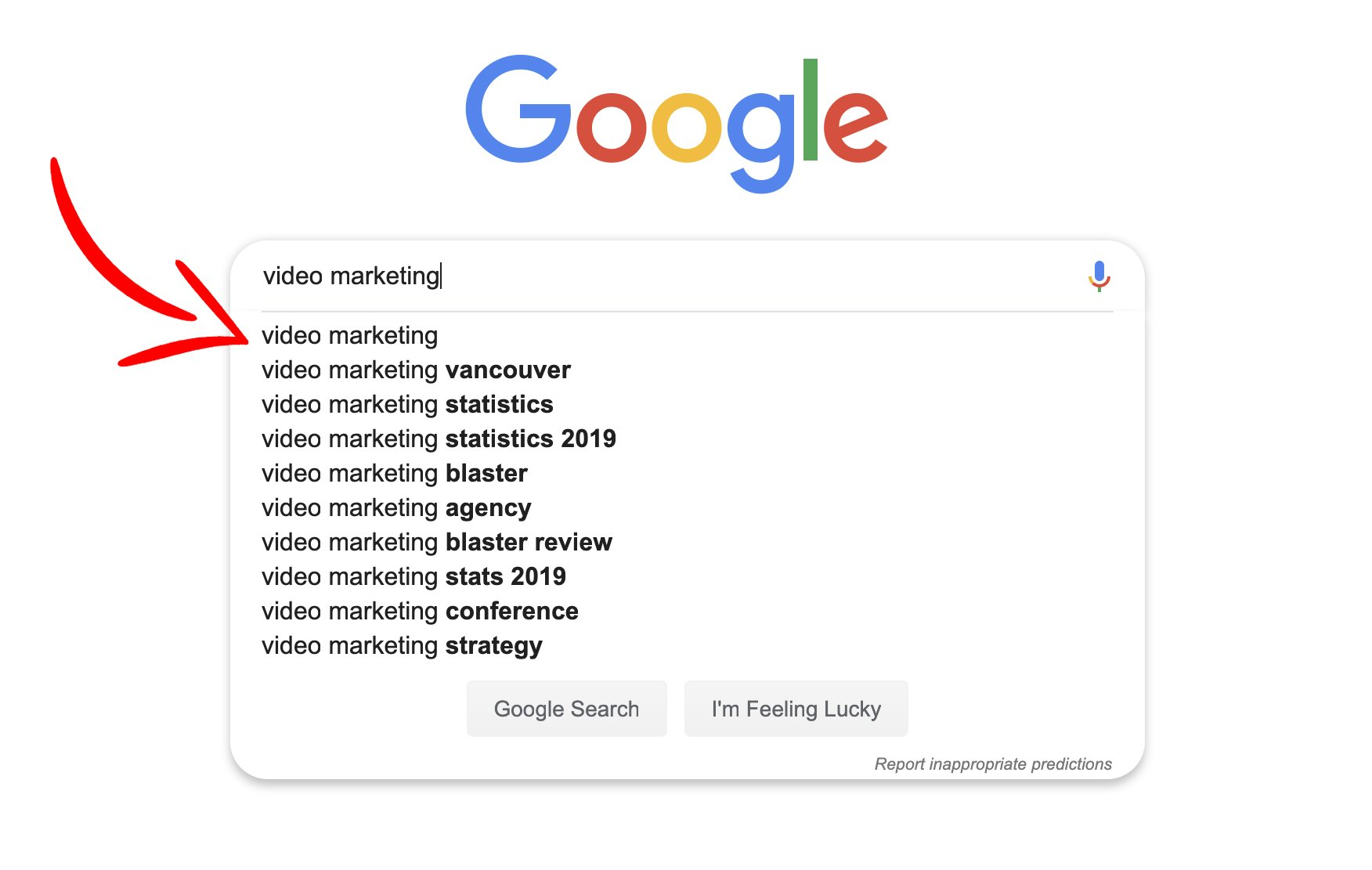 "typing ""Video Marketing"" in the google search box"