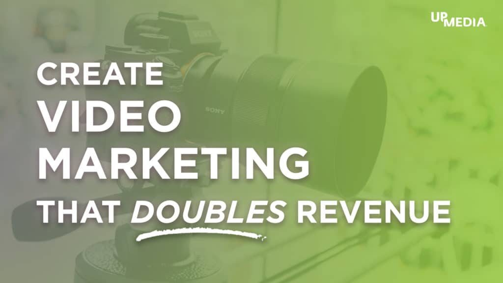 Close up of video camera. Text title that says: Create Video Marketing that doubles revenue.