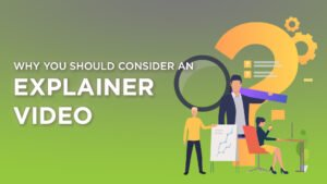Cartoon images of business people working. Text that reads: Explainer Video