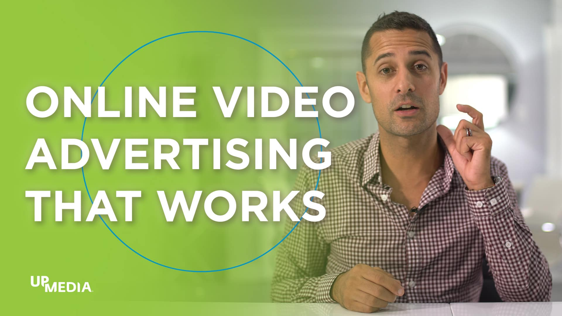 A person sitting at a table. Text saying: Online Video Advertising That Works