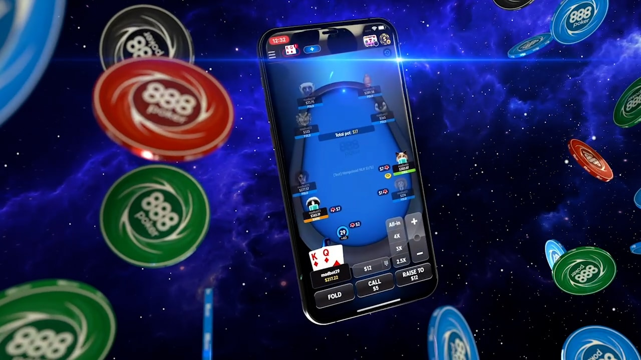 A smart phone floating in space, with poker chips flying around.