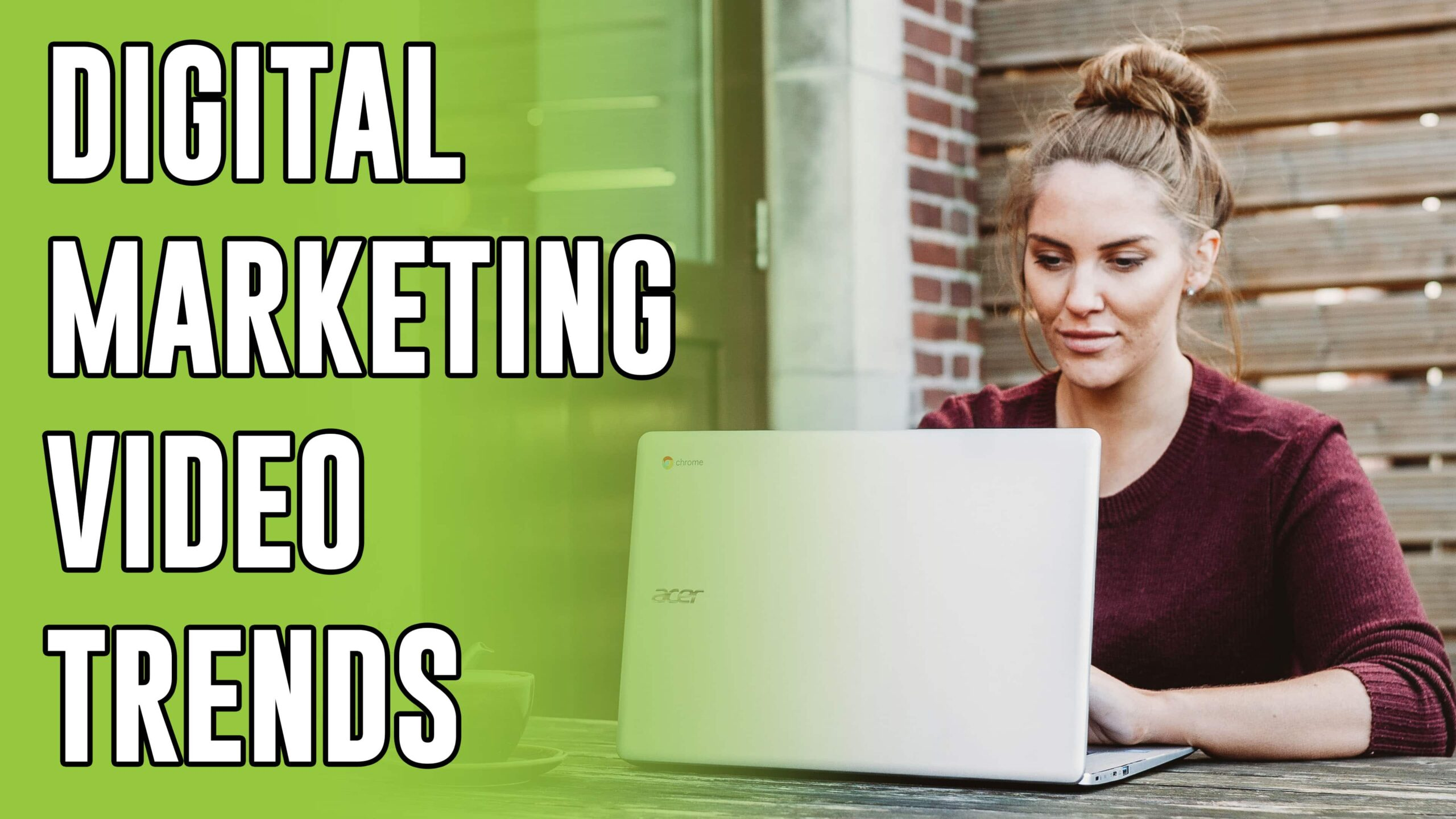 Middle age woman on a laptop. Text that reads out: Digital Marketing Video Trends