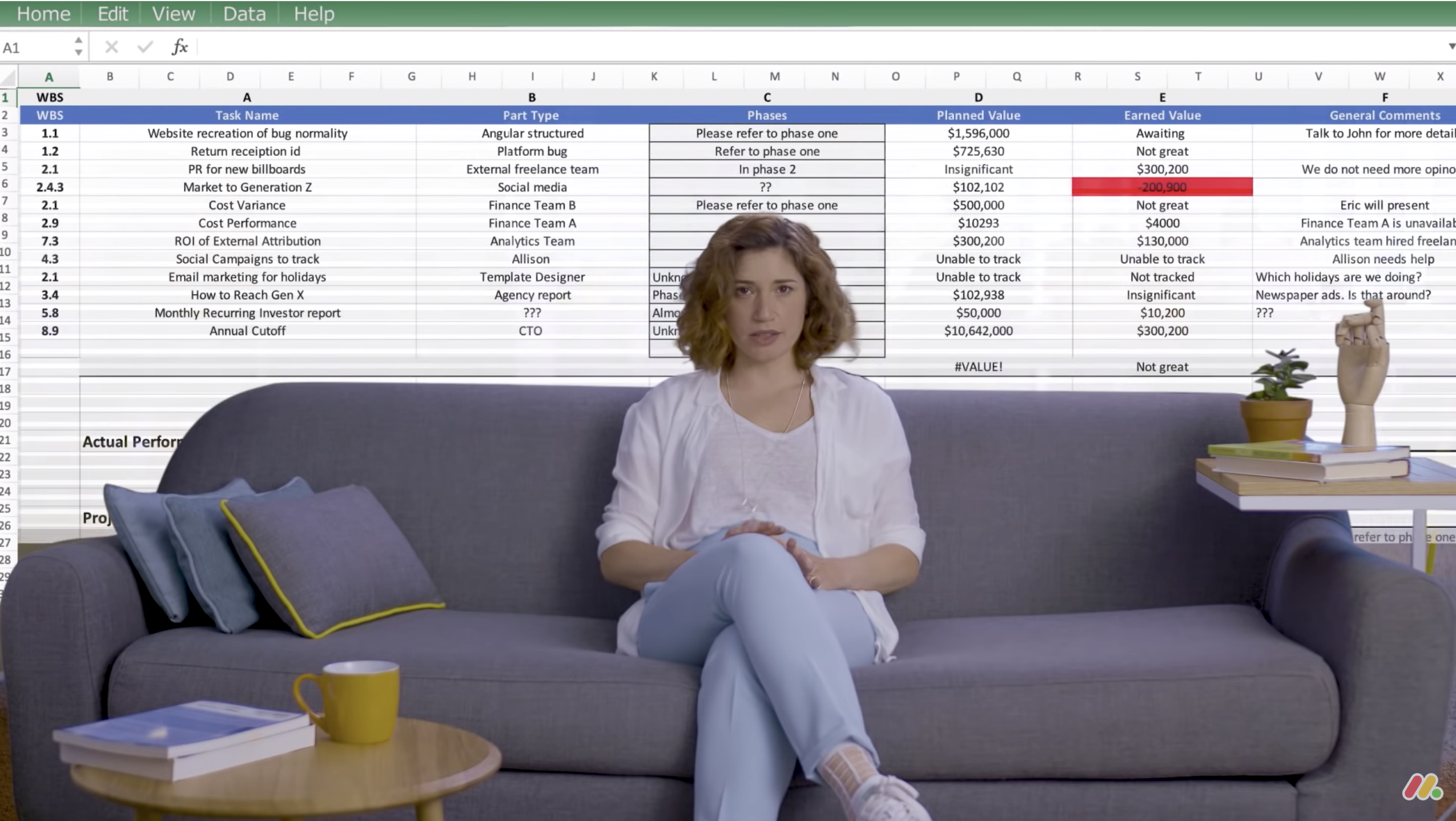 Digital marketing video screenshot .A Woman sitting on a couch in office, with a spreadsheet covering the background like a curtain