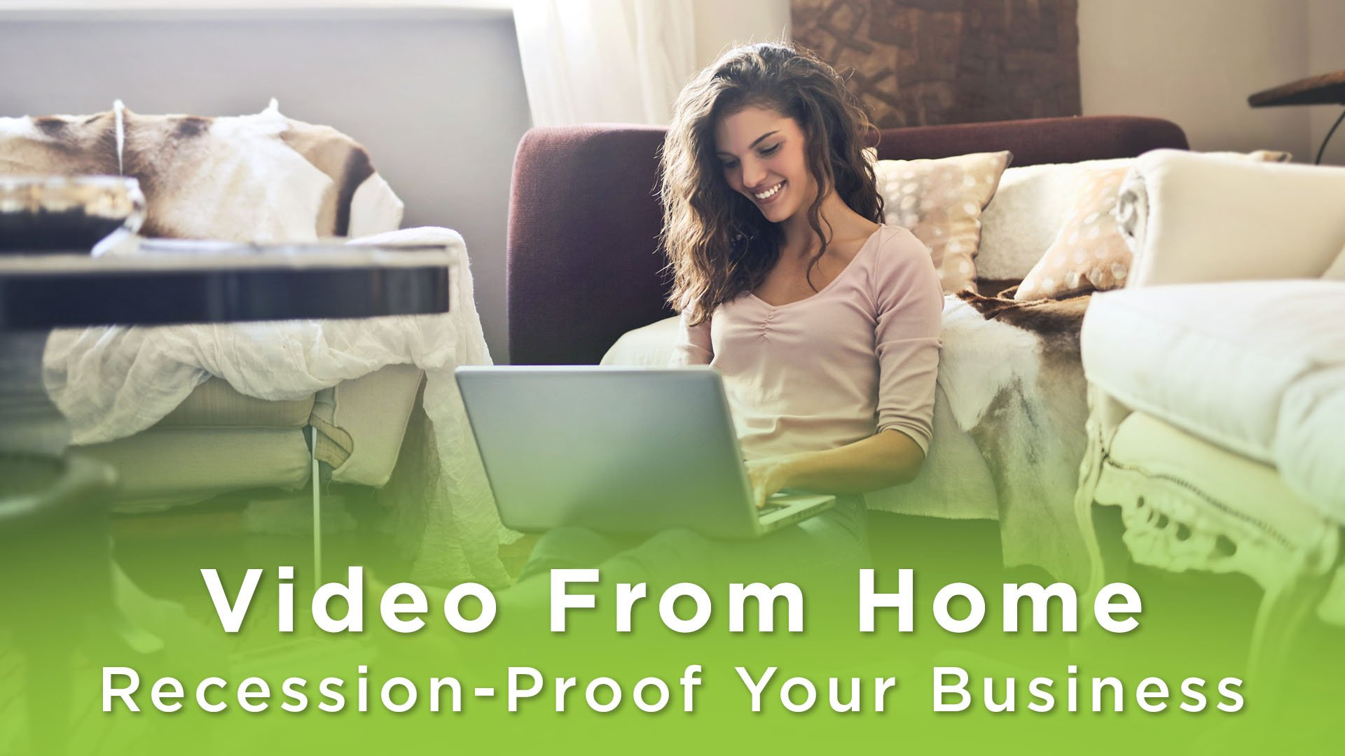 A Woman on a laptop at home. Text says: Video From Home