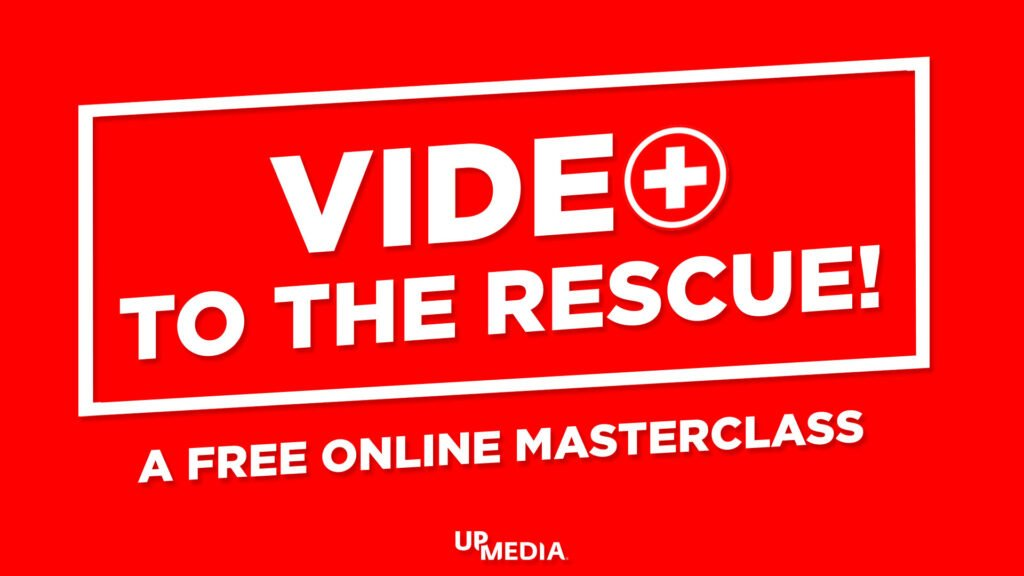 Text: Video To The Rescue. A photo of a camera.