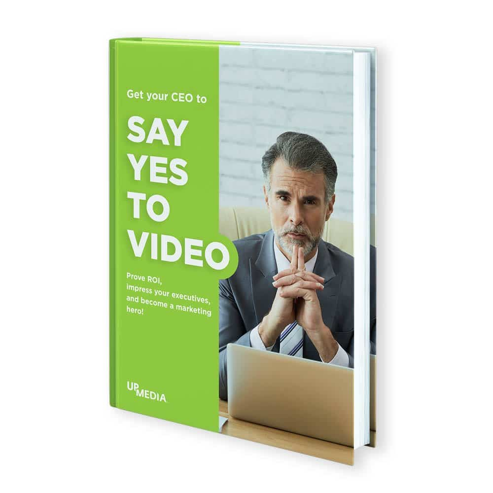 A picture of a book with a middle age man in a suit. Title says: Get your CEO to say yes to video.