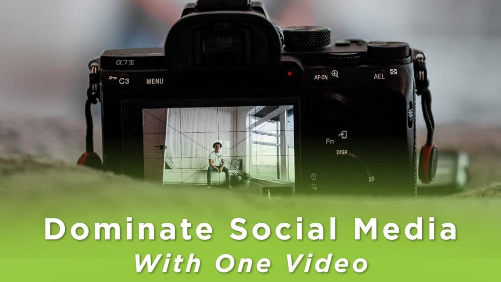 A video camera centred on a person who is ready to make a video. Text says: dominate social media with one video.