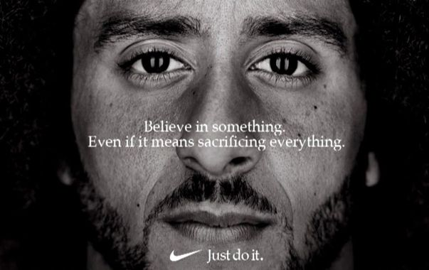 """screen caption of a video story example. Close up of famous football player with text: """"Believe in something, even if it means sacrificing everything""""."""