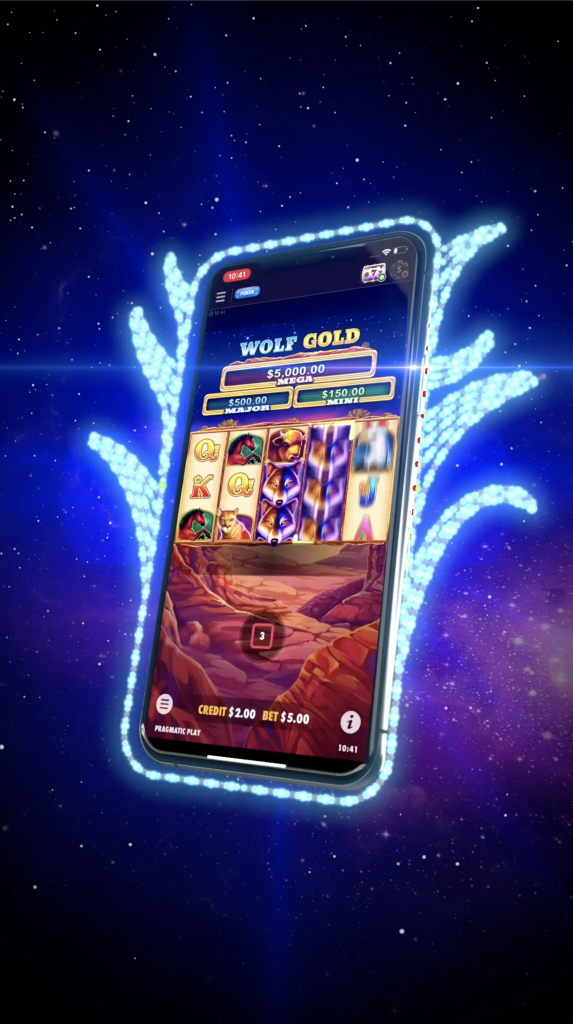 a smartphone floating in outer space, displaying a virtual slot machine