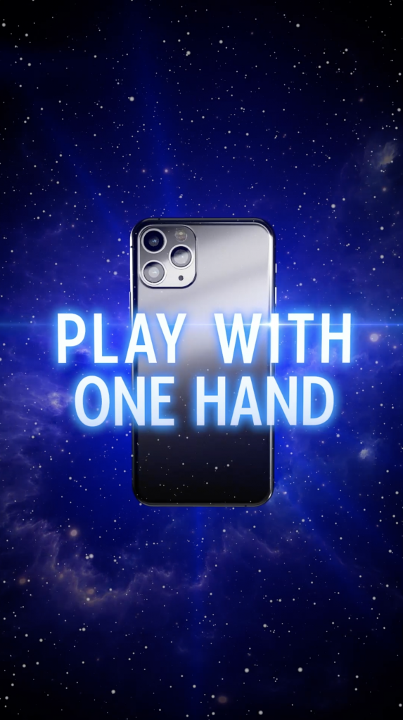 The back of an iphone floating in outer space. Text across screen says: Play With One Hand