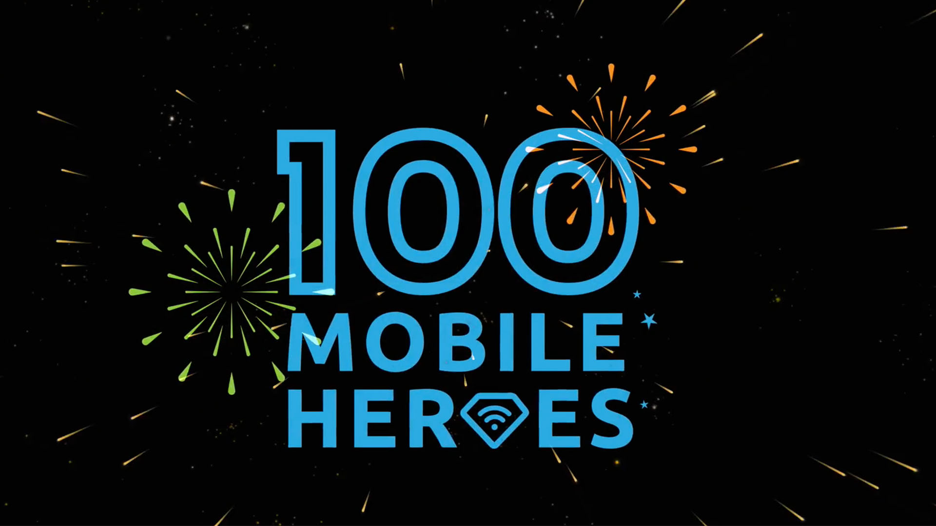 100 mobile heroes logo with fireworks on a black background