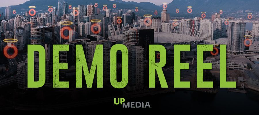 Image of downtown Vancouver with text that says: Demo Reel