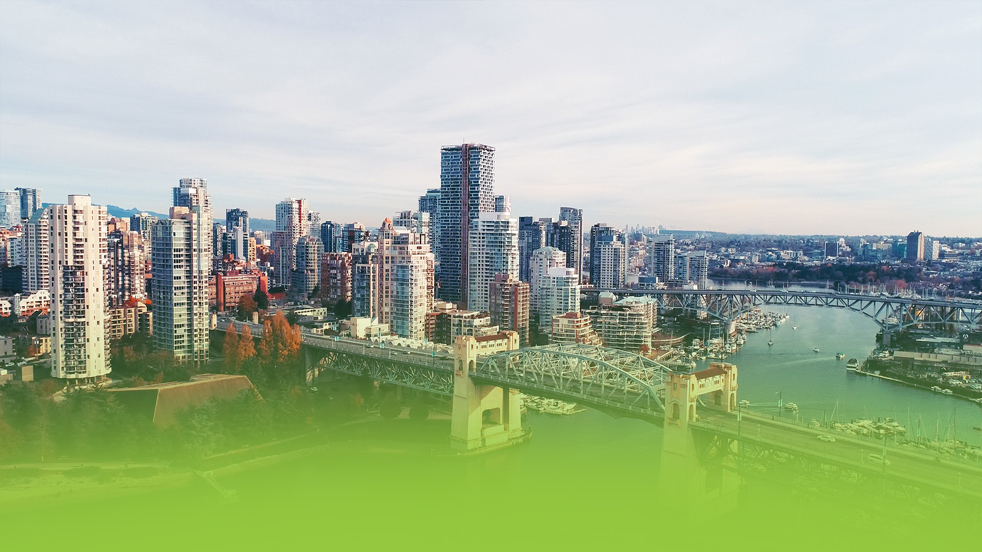 An aerial photo of downtown Vancouver
